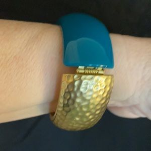 Macy's Teal color & Gold Tone Hinged Bangle